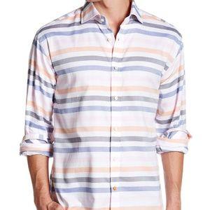 Thomas Dean L/S Woven Striped Shirt - Sz M